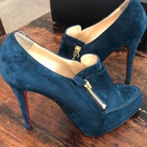 Christian Louboutin blue suede shoe/bootie